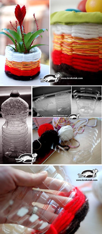 Cestinha feita com lã e garrafa plástica