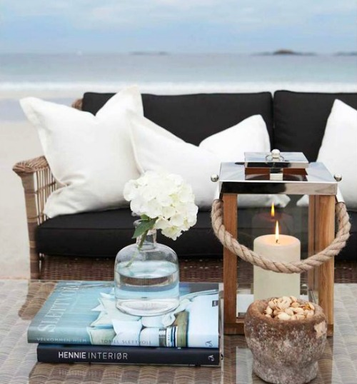 Black and White Coastal Sofa