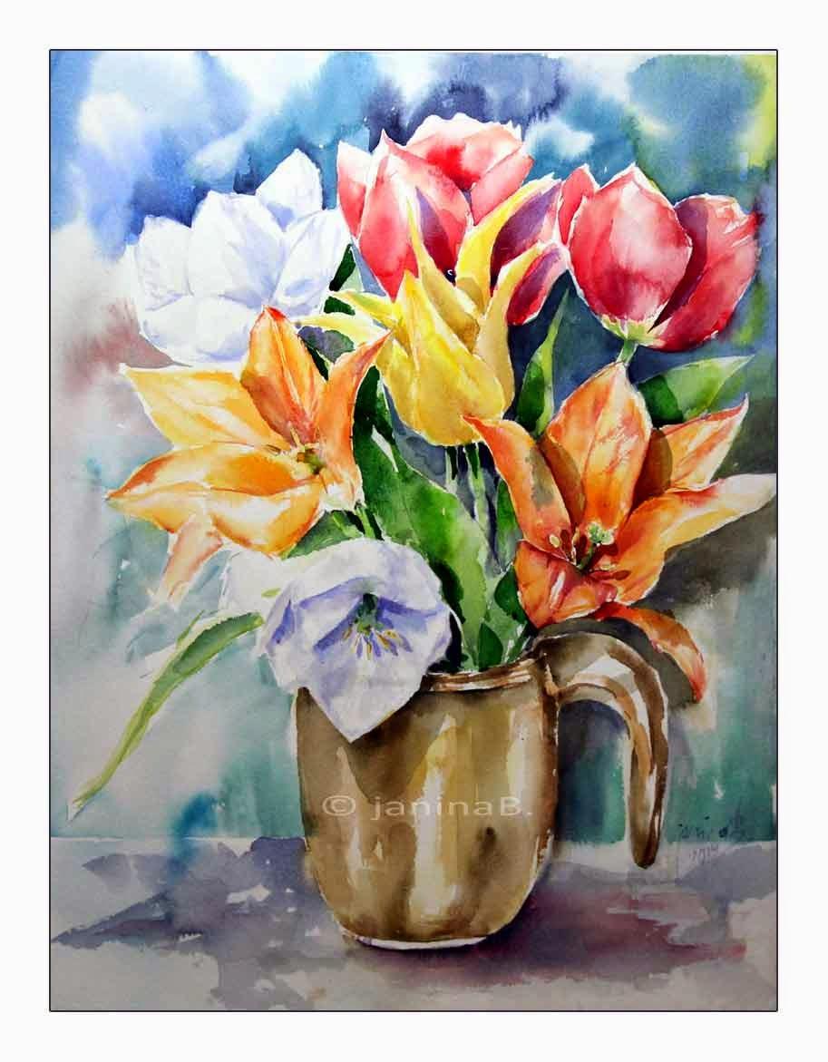 aquarellzauber bunte tulpen in der vase. Black Bedroom Furniture Sets. Home Design Ideas