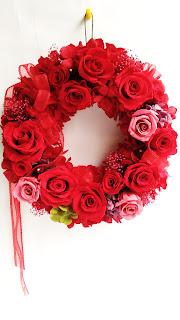 プリザーブドフラワー還暦お祝い赤バラリース