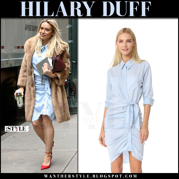 Hilary Duff in fur coat, light blue veronica beard sierra coat and red pumps what she wore april 2017
