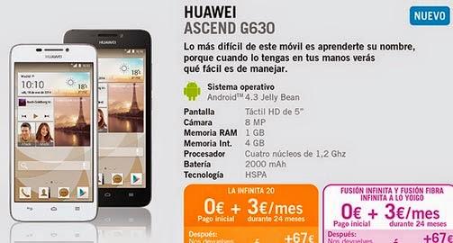 Huawei Ascend G630 con Yoigo: precios y características