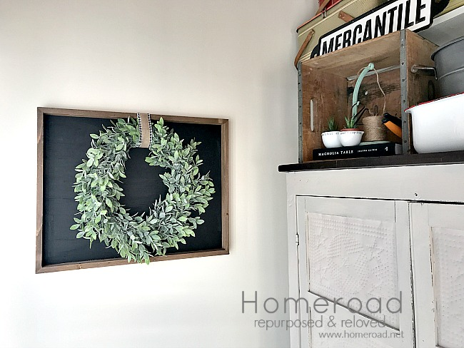 Farmhouse styled chalkboard with Wreath. Homeroad.net