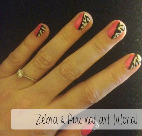 Zebra and pink nail art tutorial