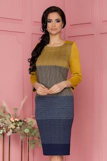 Rochie Ludmila galben mustar cu imprimeu geometric bleumarin in degrade