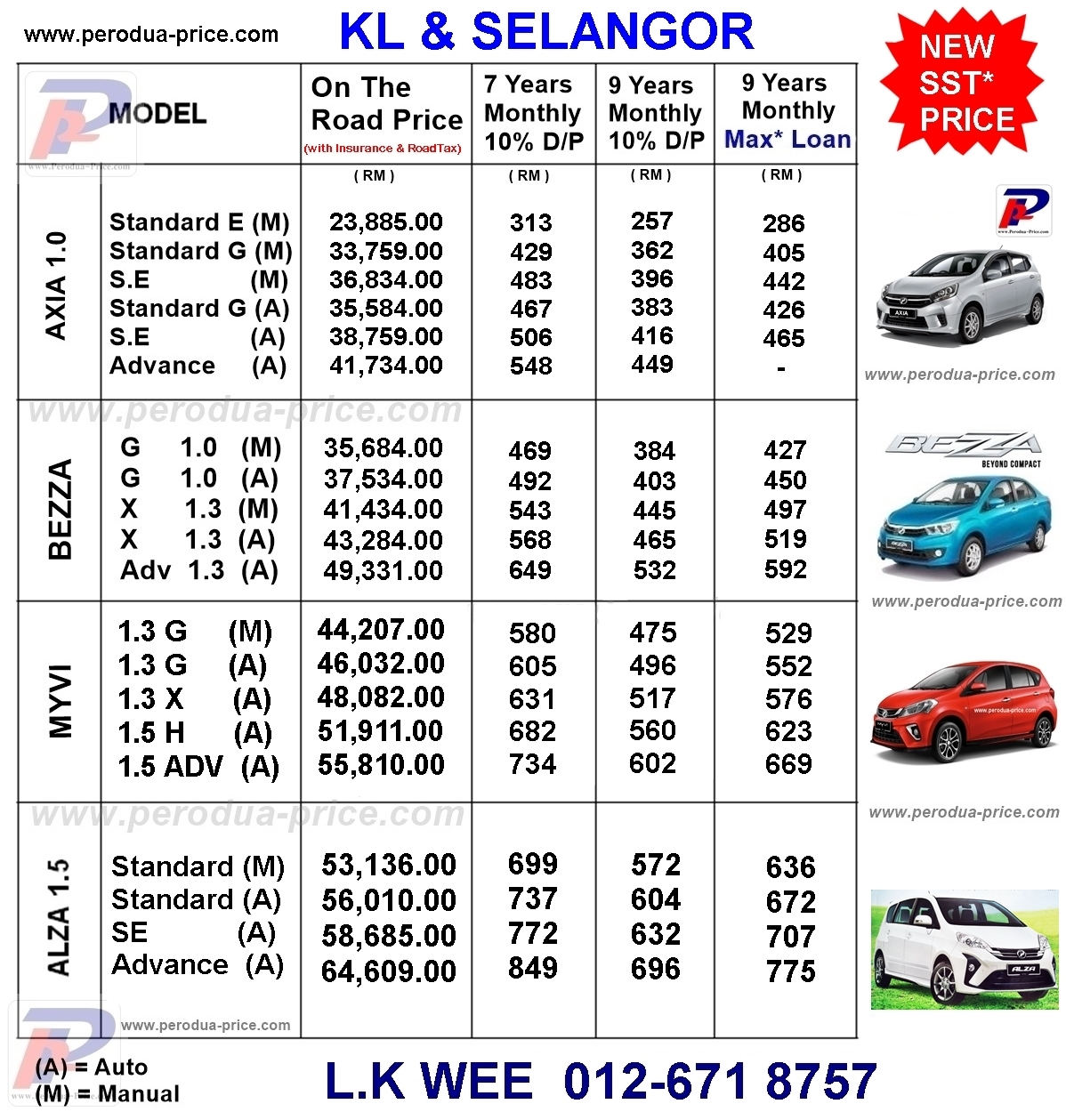 Perodua Promotion KL And Selangor - 012 671 8757: Price List