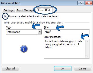 Pengaturan Error Allert pada office excel