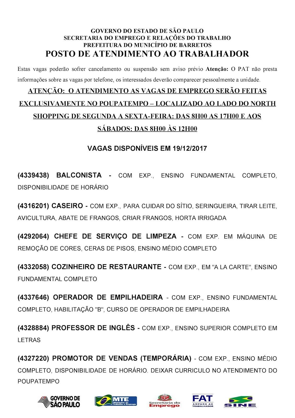 VAGAS DE EMPREGO DO PAT BARRETOS-SP PARA 19/12/2017 TERÇA-FEIRA - PÁGINA 1