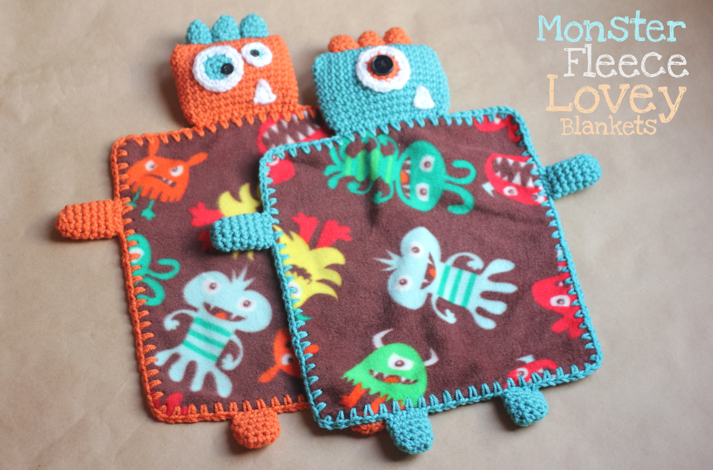 Monster Fleece Lovey Blankets - Repeat Crafter Me