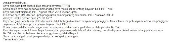 Reader tanya pasal PTPTN