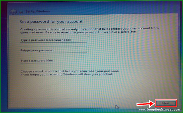 Panduan Instalasi Windows 7 - Set Password