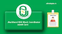Jharkhand RDD Block Coordinator Admit Card