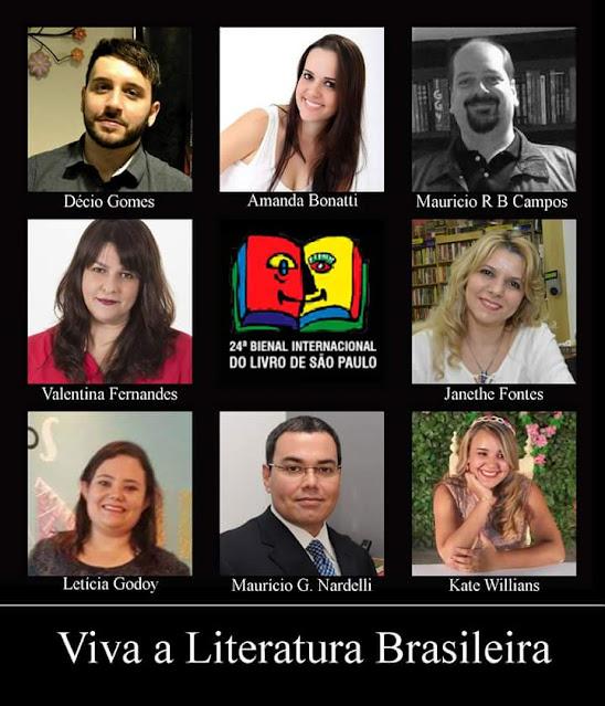 Painel com os autores da ação Viva a Literatura Brasileira