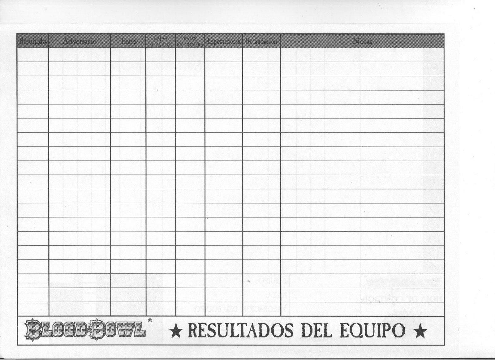Liga Blud Boul: Hoja De Equipo En Blanco