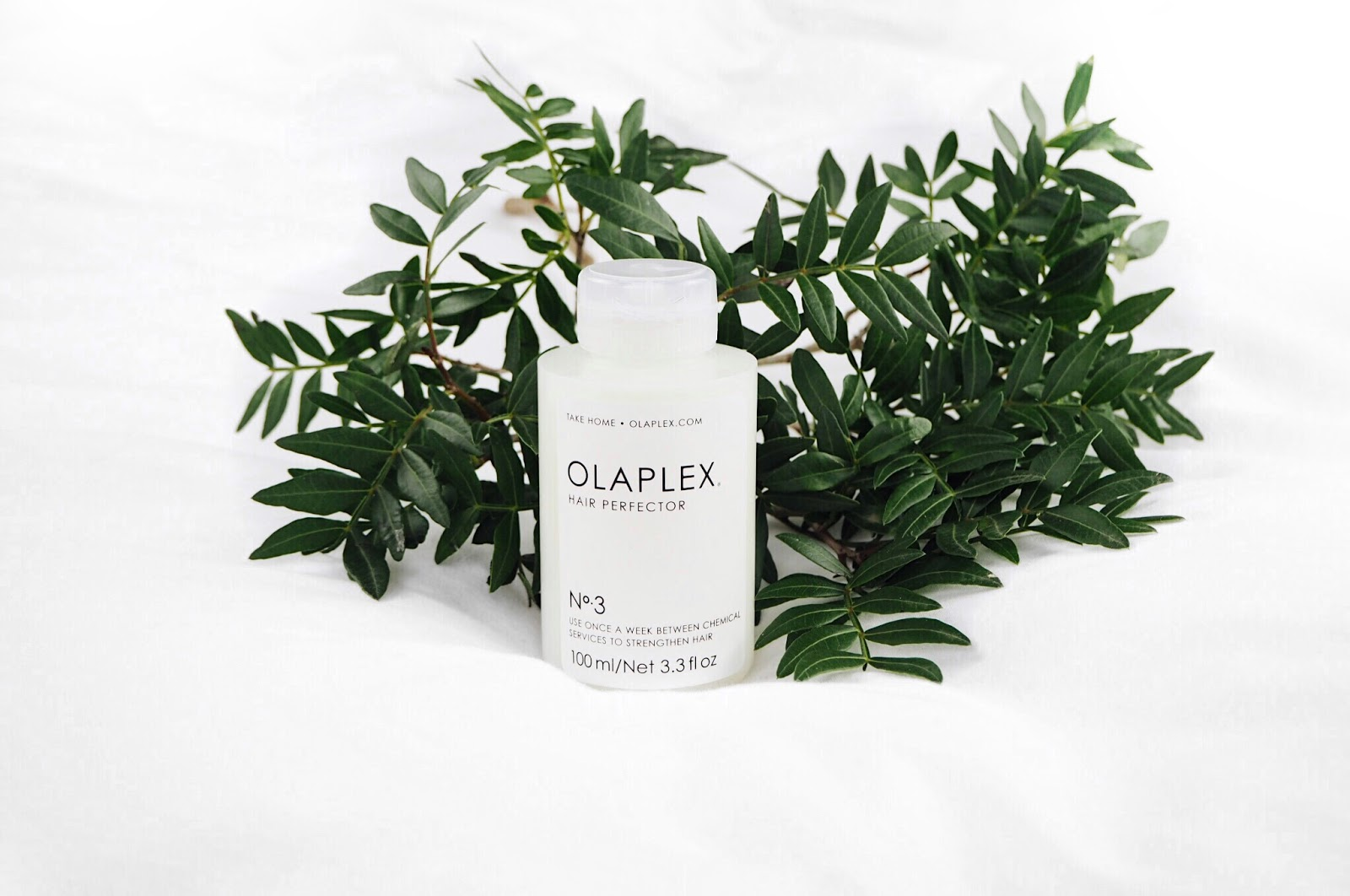 Olaplex No. 3 Treatment on white background (on the bed flatlay) with green leaves from flowers, botancial, beauty blog and hair review