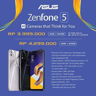 Harga Resmi Asus Zenfone 5, Asus Zenfone 5Z dan Zenfone Live L1 di Indonesia