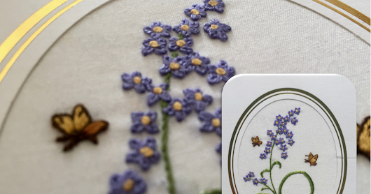 Embroidery in a Greeting Card (Purple Flowers)
