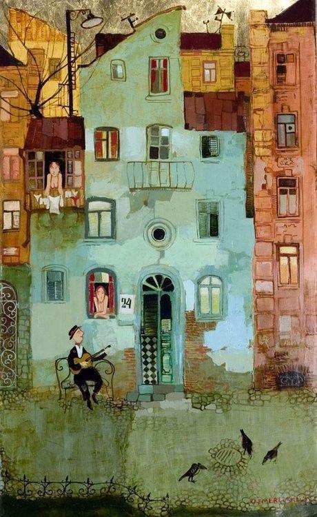 Otar Imerlishvili, Sommer, die Nacht, Liebe, Musik, singen, gefühle, herz, verliebt, gitarre spielen, paintings, bild, poetische Art