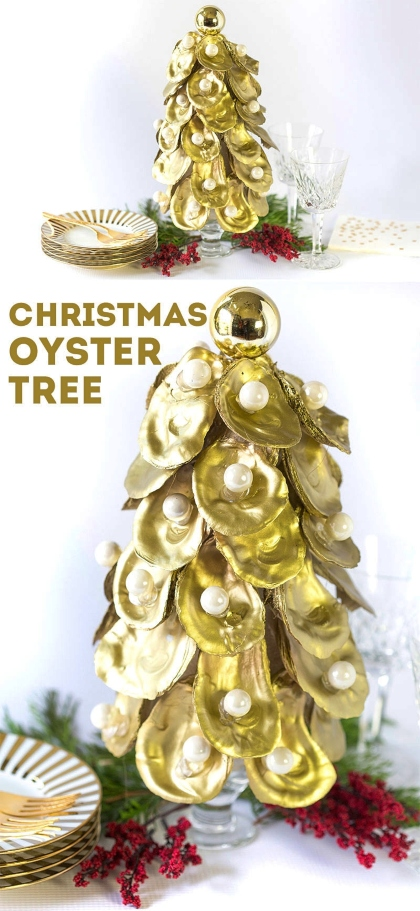 DIY Oyster Shell Christmas Tree Cone Gold Painted Tabletop
