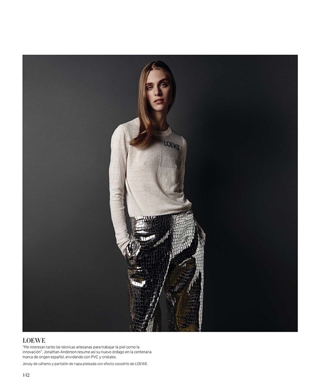 2016 SS Loewe Silver Crocodile-Embossed Leather Trousers Editorials