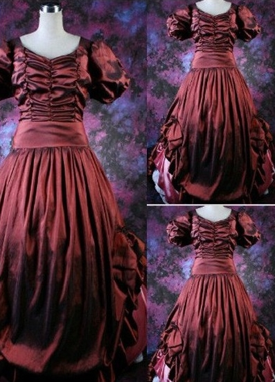 Classic Puff Sleeves Ruched Gothic Victorian Dress