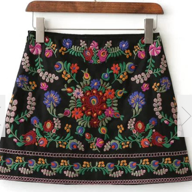 Black-Floral-Embroidery-Mini-Skirt