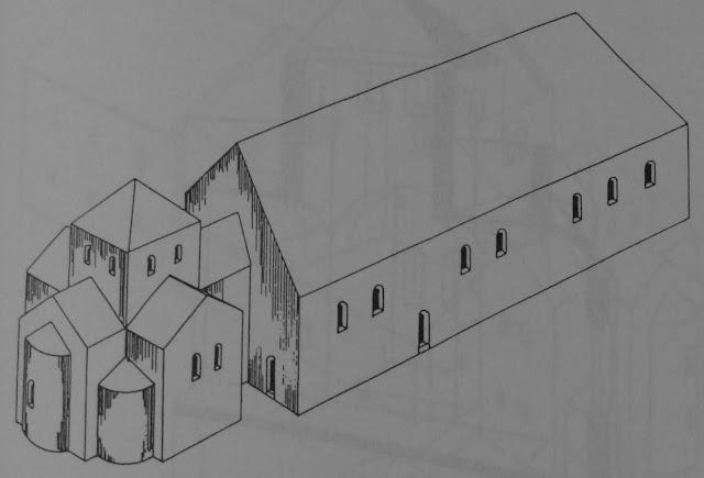 rycina przedstawiająca palatium wraz z kaplicą na Ostrowie Lednickim