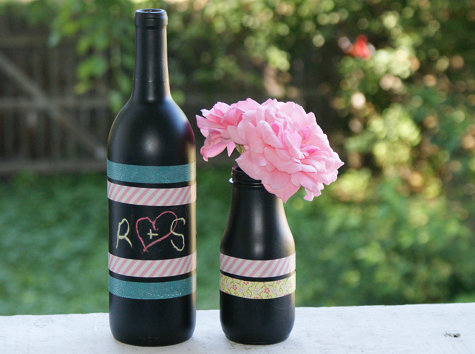 DIY Upcycled Wine Bottle Vases - Chalkboard Paint Project Idea