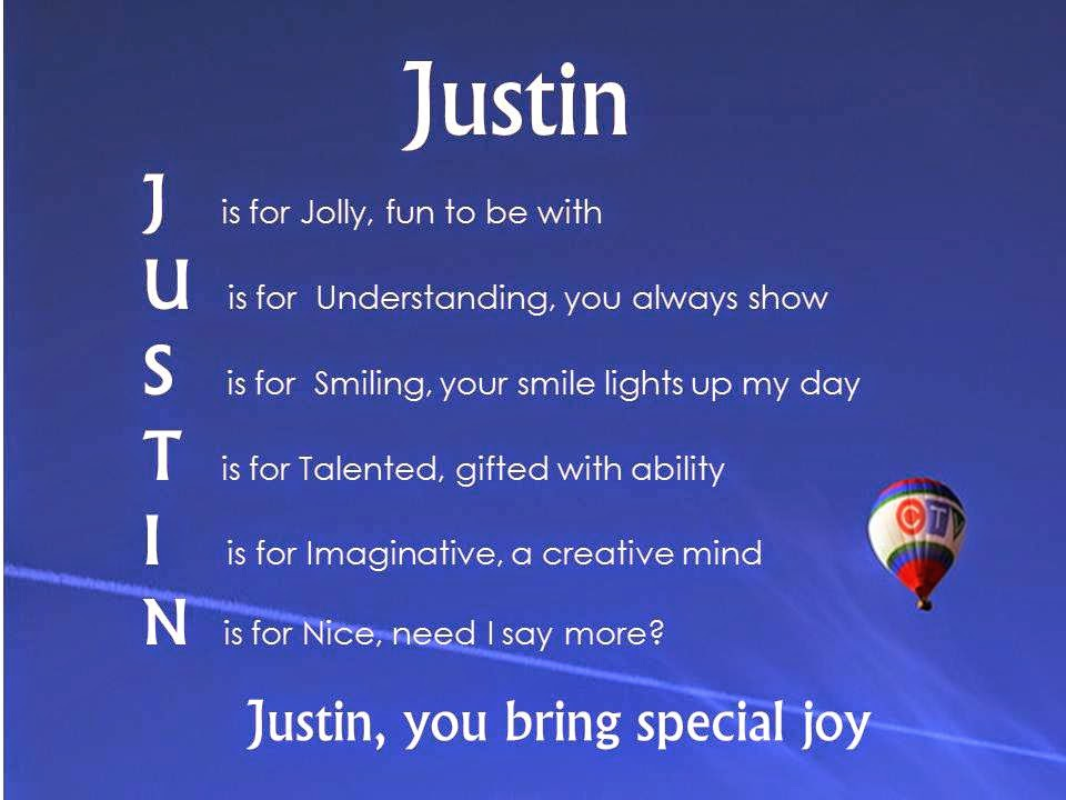 Justin Acrostic Name Poems For Boys