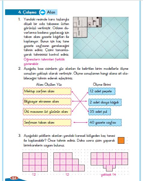 3. Sınıf Berkay Yayınları Matematik Çalışma Kitabı 64. Sayfa Cevapları Alan 4. Çalışma