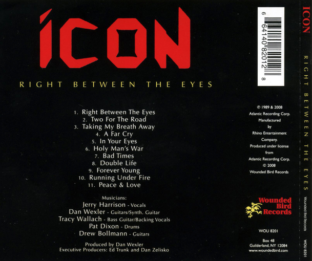 ICON - Right Between The Eyes [Wounded Bird Records remaster] back