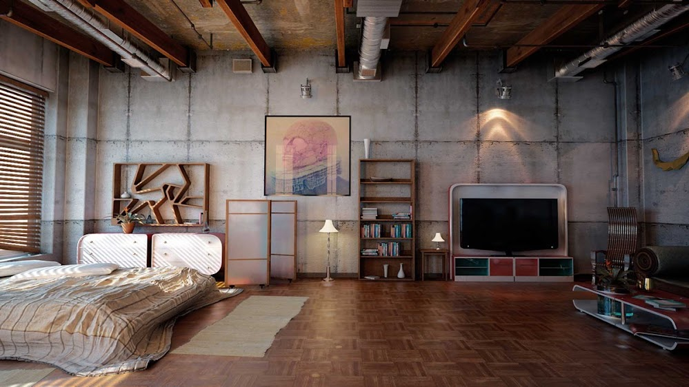 concrete-panel-walls-industrial-style-bedroom
