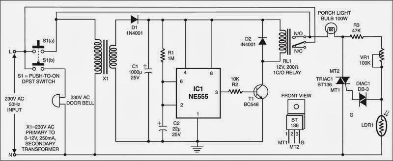 Simple Doorbell-Controlled Porchlight Circuit Diagram