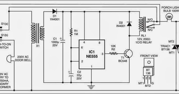 Simple Doorbell Controlled Porchlight Wiring diagram