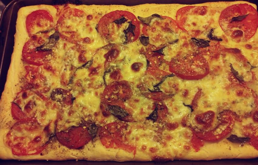 Homemade Mozzarella Tomato and Basil Pizza