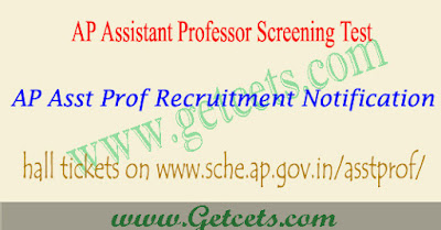 AP Assistant professor screening test hall ticket 2018 download, ap asst prof hall tickets 2018