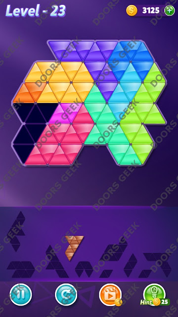 Block! Triangle Puzzle 10 Mania Level 23 Solution, Cheats, Walkthrough for Android, iPhone, iPad and iPod