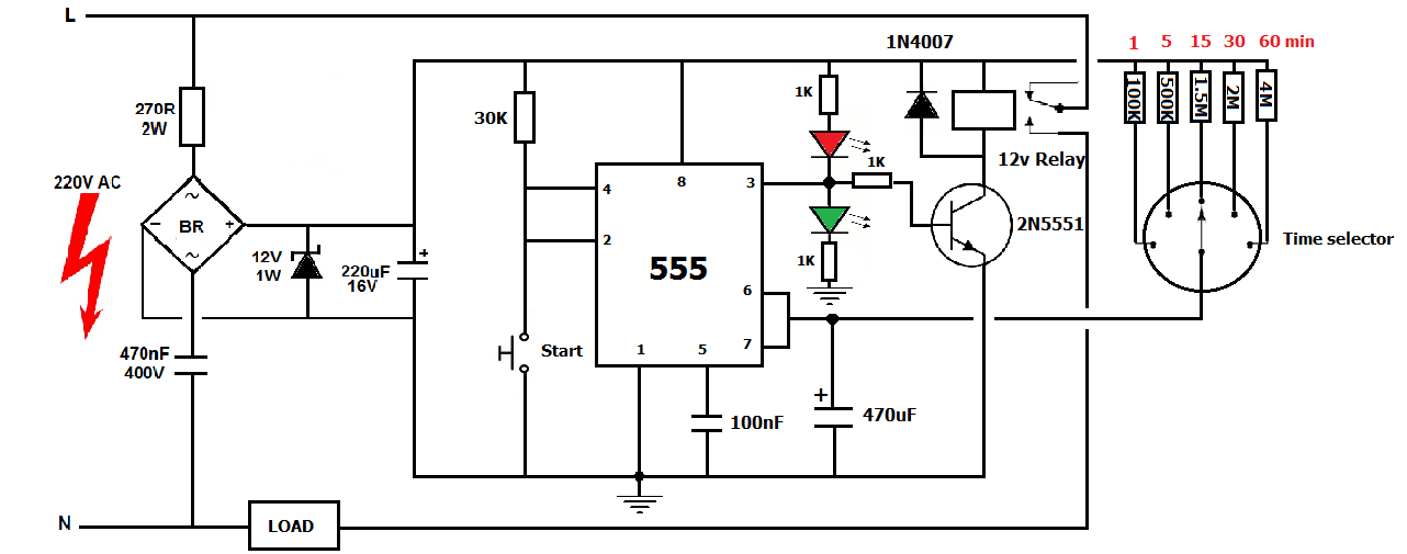 220v ac timer using ic 555 simple projects
