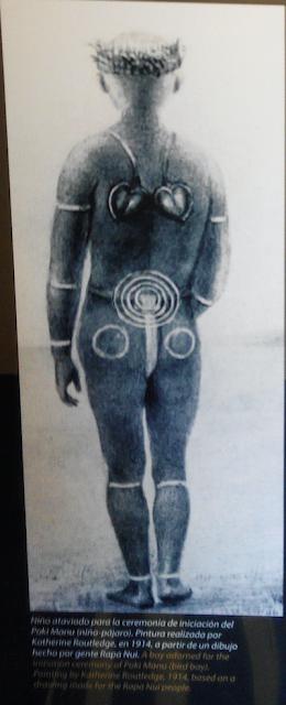 Pintura de tatuajes pascuenses realizada por la exploradora Katherine Roudtledge en 1914 sobre la ceremonia del Poki Manu