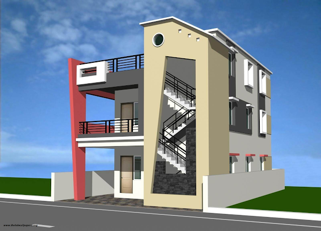 Double Story House Front Elevation 3D Designe Photo Picture & Wallpapers