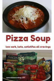 I love this soup. It completely satisfies any and all pizza cravings with very little carbs. I like to shove in lot of vegetables and add tons of shredded cheese on top.