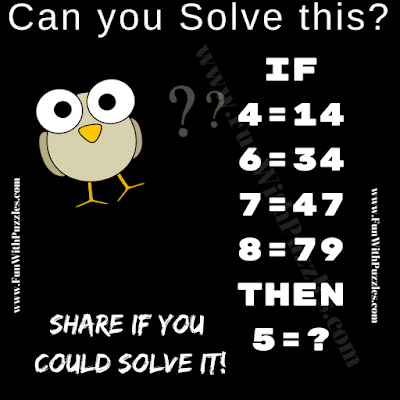Easy Brain Challenging Question in which one has to decode the logical pattern of given Maths equations