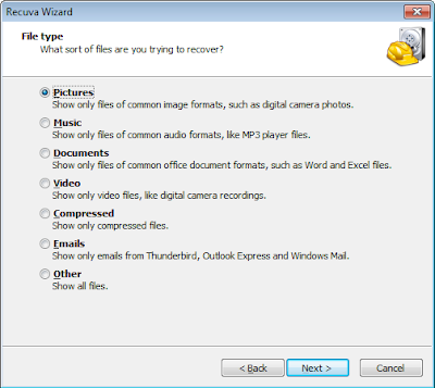 Initial Recuva window where you select the file type to recover