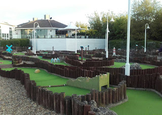 Mini Golf course at Allhallows Leisure Holiday Park in Rochester, Kent. Photo by Sophia Moles, May 2017