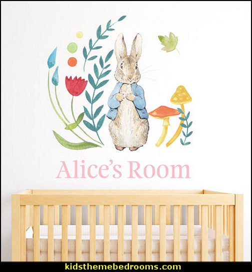 Peter Rabbit Personalised Wall Sticker Mural  peter rabbit bedroom - decorating peter rabbit theme bedroom - peter rabbit theme room ideas -  Beatrix Potter themed nursery - beatrix potter nursery decor - Beatrix Potter Nursery Murals - peter rabbit nursery decorating ideas - Peter Rabbit Beatrix Potter art - Beatrix Potter wall decals  Peter Rabbit bedding - peter rabbit wall murals - beatrix potter characters plush toys