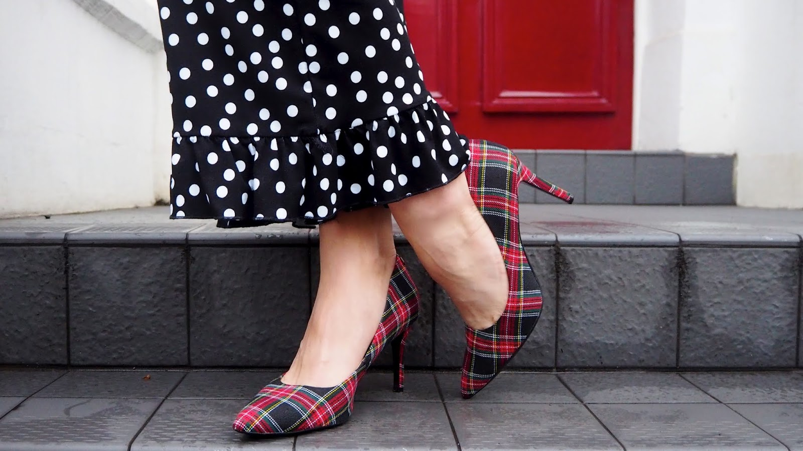 black and white polka dot ruffle trousers and red plaid high heels