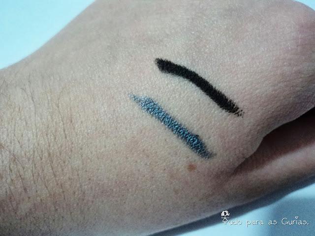 lápis de olho; lápis preto; lápis prata