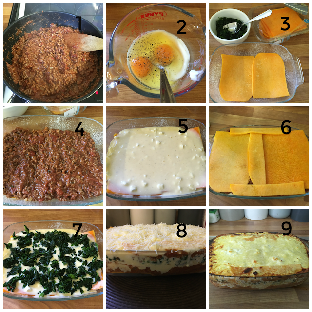 Visual instructions for butternut squash lasagne