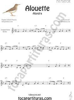 Partitura fácil Alouette (Alondra) Canción infantil con Notas en Clave de Sol Easy Sheet Music