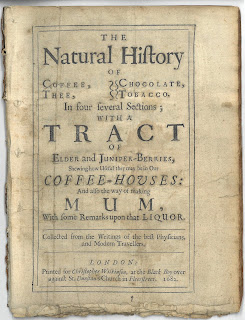 Typographic title page to Natural History fo Coffee, Chocolate, Thee, Tobacco.